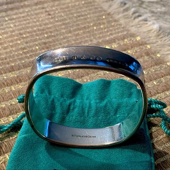 Tiffany square silver bangle